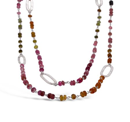Tourmaline Bead Station Wrapped Necklace 1