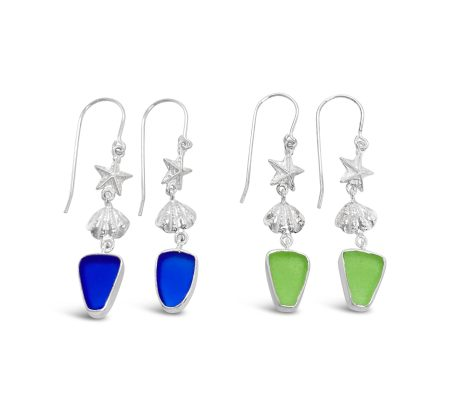 Sterling Silver Starfish and Shell Seaglass Dangle Earrings 1