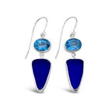 Deep Blue Maine Seaglass and Blue Topaz Pendant 2