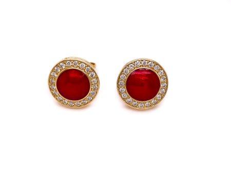 14K Gold Red Enamel Post Earrings with Diamond Halo 1