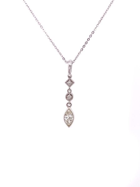 14k White Gold Triple Diamond Necklace 1