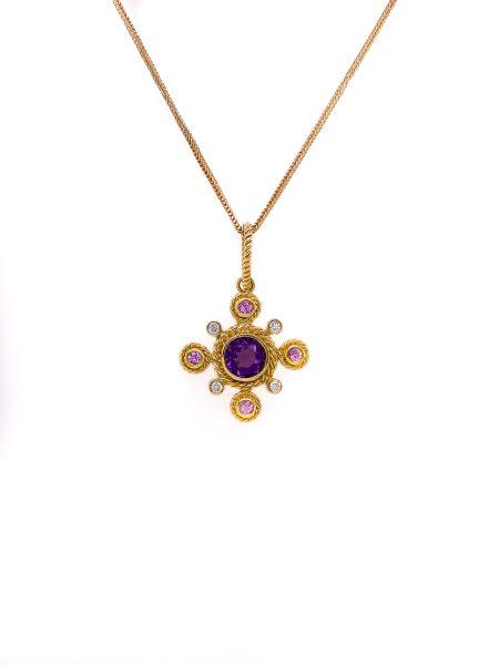Gorgeous Amethyst, Pink Sapphire and Diamond Bezel Set 14k Gold Necklace 1