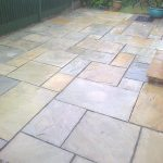Paving slab patio cleaned by DCS