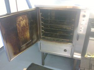 An commercial oven before a DCS Clean