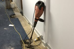 upliting carpet tiles with hilti breaker