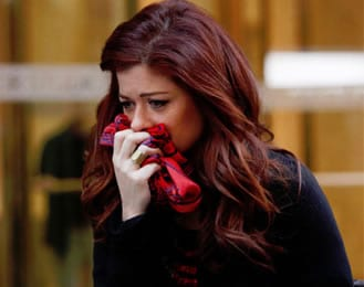 "Julia (Debra Messing) loses husband Frank (Brian d'Arcy James), old flame Michael (Will Chase) and her beloved scarves. ""Goodbye, old friends."""