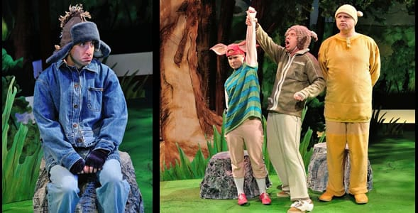 James Gardiner as Eeyore. Genevieve James as Roo, Joshua Morgan as Rabbit and Todd Scofield as Winnie the Pooh. (Photos: Bruce Douglas)