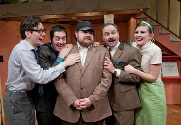 Jerzy Gwiazdowski as Brindsley, Brian Sutow as Harold, Ryan Mitchell as Schuppanzigh, Matthew R. Wilson s Col. Melkett and  Kathryn Saffell as Carol (Photo: C. Stanley Photography)