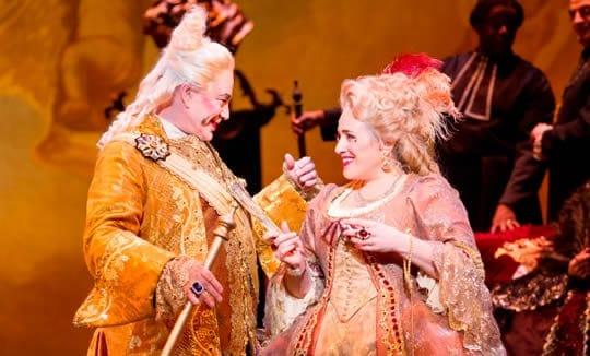 Jake Gardner as Geronte de Ravoir and Patricia Racette as Manon Lescaut. (Photo: Scott Suchman)