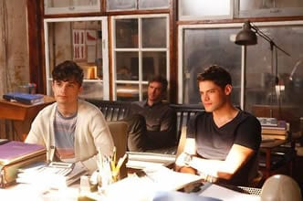 The Hit List team Kyle (Andy Mientus),Derek (Jack Davenport) and Jimmy (Jeremy Jordan) get notes.                         get notes from ___