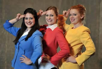 (l-r) airline stewardesses Kelsea Edgerly, Molly Cahill Govern, Allison Leigh Corke; photo by Stan Barouh