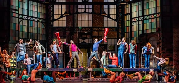 Stark Sands, Billy Porter, The Angels (l-r: Kyle Taylor Parker, Charlie Sutton, Joey Taranto, Kevin Smith Kirkwood, Paul Canaan, and Kyle Post), and cast (Photo: Matthew Murphy)