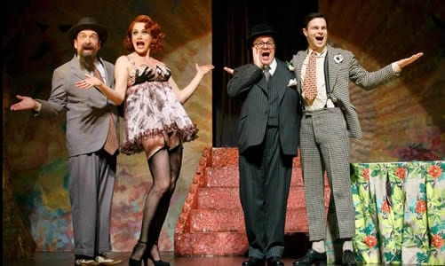 Lewis J. Stadlen, Cady Huffman, Nathan Lane and Jonny Orsini (Photo: Joan Marcus)