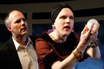 Steven Carpenter as Charles and Evan Crump as Madame Arcati (Photo: Teresa Castracane)