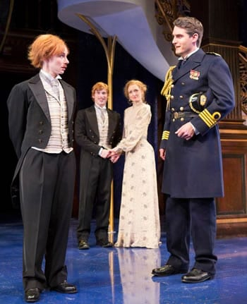(l-r) Emily Trask as Viola ) identity is discovered by Duke Orsino (Michael Brusasco),  Olivia (Rachel Pickup as Olivia and William Vaughan as Sebastian, (Photo: Scott Suchman)