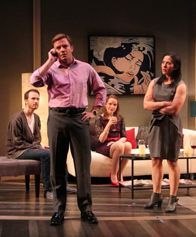 Rex Daugherty as Andrew, Will Gartshore as Max, Michelle Six as Becky Shaw) and Alyssa Wilmoth Keegan as Suzanna.  (Photo: Danisha Crosby)