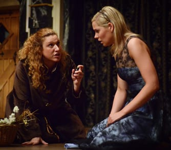 Allison Glenzer as Friar Lawrence and Tracie Thomason as Juliet (Photo by Pat Jarrett)