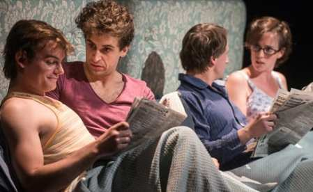 (l-r) Alex Mills as Alan, Brandon Uranowitz as Arnold, Todd Lawson as Ed, and Sarah Grace Wilson as Laurel (Photo: Teddy Wolff)