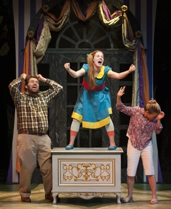 Casie Platt as Lulu and Doug Wilder and Tracey Stephens as Lulu's parents (Photo: Margot Schulman)