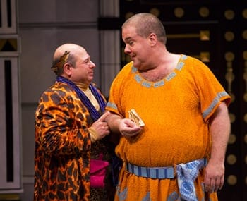 Danny Rutigliano as Marcus Lycus and Bruce Dow as Pseudolus (Photo: T. Charles Erickson)
