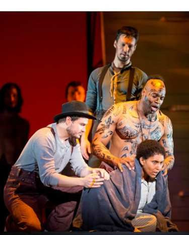 (clockwise from left) Alexander Lewis as Flask, Eric Greene as Queequeg, Talise Trevigne as Pip, and Christian Bowers as Stubb.( Photo:  Scott Suchman for WNO)