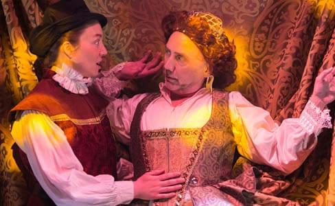 Sara Barker as Orlando and Mario Baldessari as Queen Elizabeth I (Photo: C. Stanley Photography)