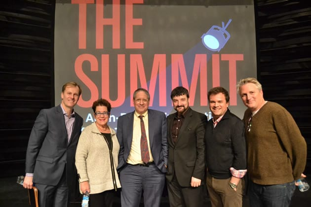Summit 1: Artistic Directors (l-r) Paul Tetreault, Molly Smith - next to Peter Marks - Paata Tsikurishvili, Ryan Rilette and Eric Schaeffer  (Photo: Courtesy of Arena Stage)