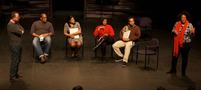 (l-r) New Play Institute Dramaturg Jocelyn Clarke, Jason McIntosh, Lolita Clayton, Kelly Renee Armstrong, James Johnson and Playwright Jacqueline Lawton from Noms de Guerre (Photo by Ryan Maxwell)