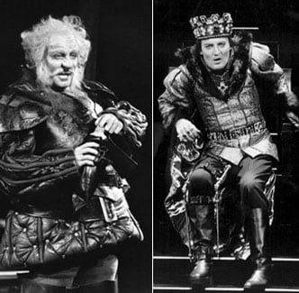 Stacy as Falstaff, 1968 and as Richard III, 1990. (Photo courtesy of gostacykeach.com)