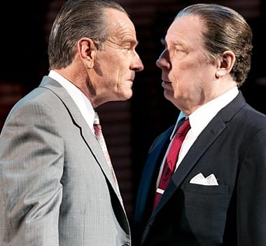 Bryan Cranston as President Lyndon B. Johnson and Michael McKean as J. Edgar Hoover in All The Way