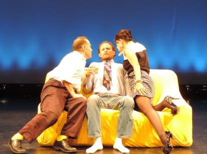 Ron Heneghan as Michael, Drew Valins as Ferdinand and Susan Galbraith as Vera in Unveiling (Photo courtesy of Alliance for New Music-Theatrre