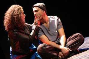 Alina Collins Maldonado as Saint Monica and Maboud Ebrahimzadeh as Judas, Forum Theatre's The Last Days of Judas Iscariot (Photo: Melissa Blackall Photography)