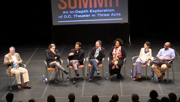 (l-r) Peter Marks, Ari Roth, David Muse, Norman Allan, Jacqueline E. Lawton, Rachel Grossman and Robert O'Hara