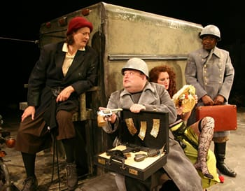from Scena's production of Mother Courage: Nancy Robinette, Michael Miyazaki, Jenifer Deal, and Rashard Harrison in Mother Courage. (Photo: Ian C. Armstrong)