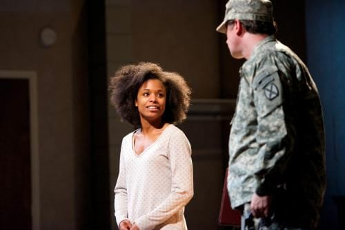 "Kaliswa Brewster as ""Alicia G."" and Brit Whittle as ""Troop 1"" (Photo by Seth Freeman)"