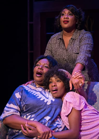 (l-r) Bernardine Mitchell, Roz White (standing), Ashley Ware Jenkins (Photo: Chris Banks)