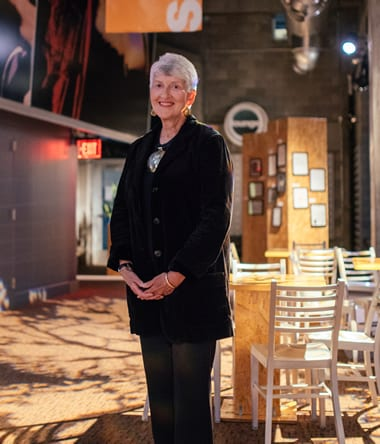 Barbara Bear, outstanding audience member in the Signature Theatre lobby (Photo: Matailong Du)