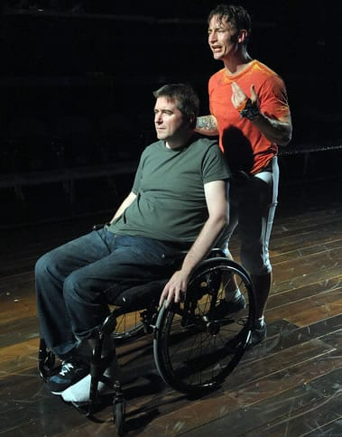 Michael Patrick Thornton as Mike and Joseph Carlson as Young Mike (Photo: Stan Barouh)