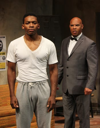 (l-r) Eddie Ray Jackson as Muhammad Ali and Jefferson A Russell as Brother Rashid (Photo: Kevin Berne)