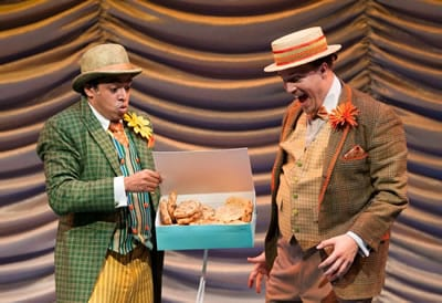 (l-r) Jobari Parker-Namdar as Frog and Stephen Edwards Horst as Toad in A Year wwith Frog and Toad at Imagination Stage (Photo: Margot Schulman)