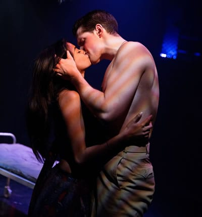 Jonathan Helwig as Lt Cable and Surassree Das as Liat in South Pacific, at Toby's Dinner Theatre (Photo: Jeff Tidwell Photography)
