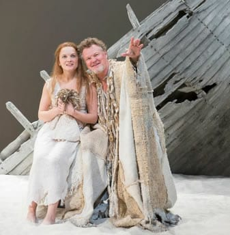 Rachel Mewbron as Miranda and Geraint Wyn Davies as Prospero in the Shakespeare Theatre Company production of William Shakespeare's The Tempest,(Photo: Scott Suchman)