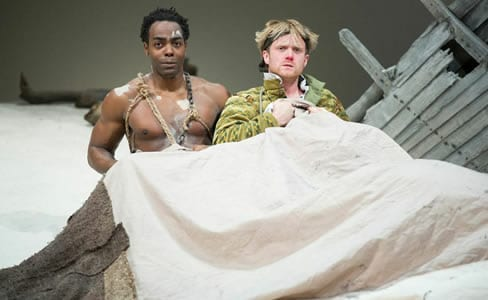 (l-r) Clifton Duncan as Caliban and Dave Quay as Stephano in the Shakespeare Theatre Company production of William Shakespeare's The Tempest, Photo by Scott Suchman.