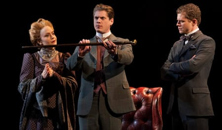 (l-r) Jane Pfitsch, Gregory Wooddell as Sherlock Holmes and Stanley Bahorek in Ken Ludwig's Baskerville: A Sherlock Holmes Mystery (Photo: Margot Schulman)