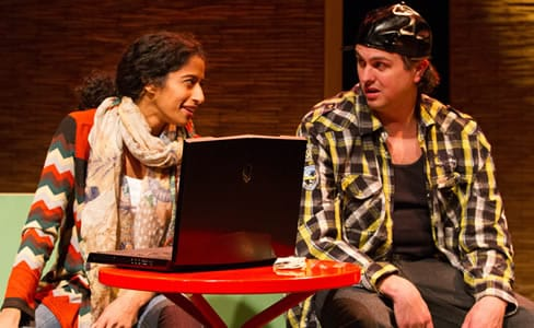 Anu Yadav as Evie and Jamie Smithson as online boyfriend Tony in Love and Warcraft by No Rules Theatre (Photo: Teresa Wood)