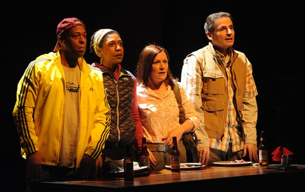 (l-r) Thomas W. Jones II as Mike, Erica Chamblee as Traci, Jennifer Mendenhall as Janine and Paul Morella as John (Photo: Stan Barouh)