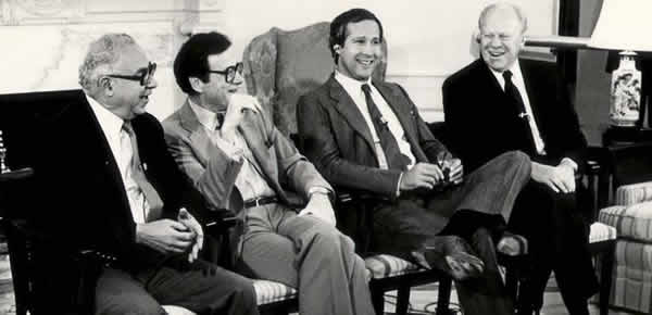 Humorists and their favorite subject: (l-r) Art Buchwald, Mark Russell, Chevy Chase and President Gerald Ford (Source: markrussell.net)