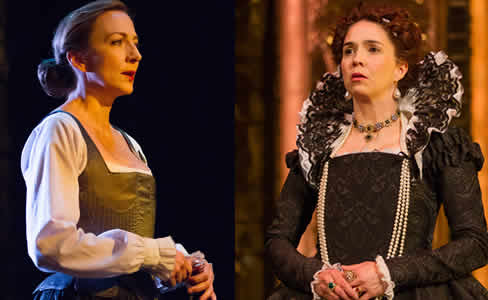 (l-r) Kate Eastwood Norris as Mary Stuart and Holly Twyford as Queen Elizabeth (Photo: Teresa Wood)