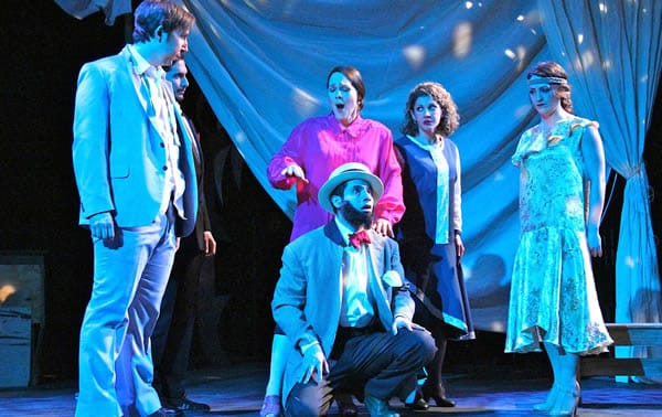(l to r) Sean Pflueger, Aaron Halevy, Daniele Lorio, Randa Rouweyha, Laura Wehrmeyer Fuentes and Alex Alburqueque (front) in Don Giovanni from The In Series. (Photo: Imraan Peerzada)