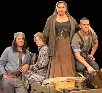 (l-r) Nehal Joshi, Erin Weaver, Kathleen Turner, Nicholas Rodriguez in Mother Courage and Her Children, Arena Stage (Photo: Teresa Wood)